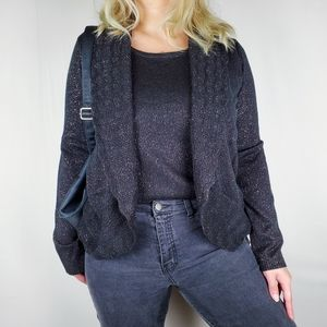 Shimmery Pink Black Attached Cardigan Swea…